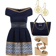 Mini Dress Contest by ella178 on Polyvore featuring moda, Tory Burch, Sedgwick, minidress, bandage and offshoulder