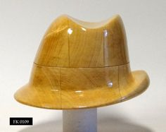 WK 0109 - Wooden hat block, millinery, hut form, form a' chapeau, fascinator, forma kapeluszowa, Vintage wooden hat block by borsolino on Etsy https://www.etsy.com/listing/224030712/wk-0109-wooden-hat-block-millinery-hut