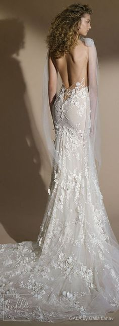 Wedding Dress by GALA by Galia Lahav Collection No. VI   Sleeveless bridal gown with strap deep plunging v neck full embellishment   sexy romantic trumpet mermaid wedding dress low open back chapel train   #weddingdress #weddingdresses #bridalgown #bridal