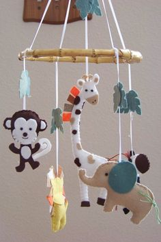 Baby Mobile Baby Crib Mobile Jungle Mobile - pretty easy to do with some ribbon and an embroidery hoop!