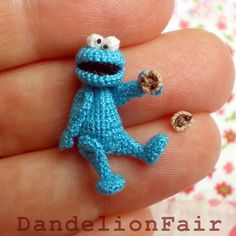 Tiny crocheted cookie monster