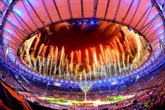 Fireworks explode above the Maracana Stadium at the end of the closing ceremony of the Rio 2016 Olympic games on August 21, 2016 in Rio de Janeiro, Brazil