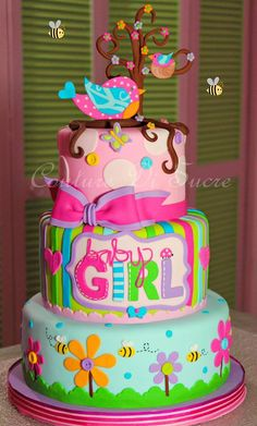 Pink & Pastel Flowers, Stripes and Polka Dot Baby Girl Cake with Birds Topper