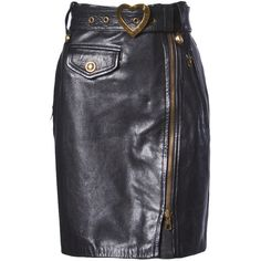 Pre-owned Moschino Vintage 1990s 90s Black Leather Skirt with Heart... (2.730 RON) ❤ liked on Polyvore