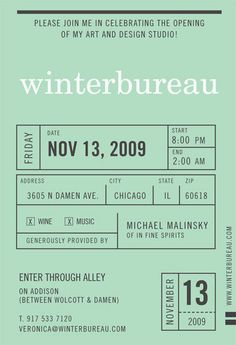 yiannakopoulou: fuckyeahtypography: someotherpeople: Postcard: Invite. Winterbureau Open Studio. I love mint green.