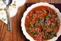 Smoky Tomato Lentil Soup with Spinach and Olives