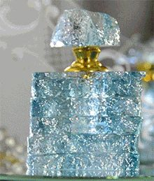 gorgeous handcrafted light blue Liuli crystal perfume bottle with textured finish