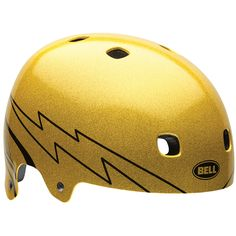 Bell Segment Graphic BMX and MTB Helmet Gold Flake; The skate-style look never gets old. It has the classic shape of an old-school skate helmet, but its ingenious design gives it head-hugging flexibility. Cool Bike Helmets, Mountain Bike Helmets, Bicycle Helmet, Mountain Biking, Go Kart, Martial Arts Supplies, Mma Gear, Bell Helmet, Pro Scooters