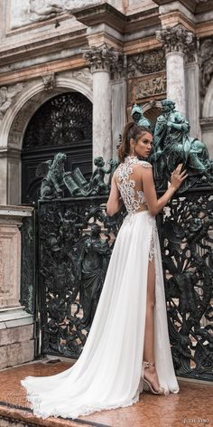 julie vino spring 2018 bridal cap sleeves jewel neck heavily embellished sheer bodice high side slit flowy skirt sexy glamorous a line wedding dress beaded back sweep train (06) bv