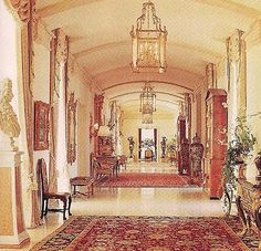Palm Beach estate Montsorrel was completed in 1969, design by French architect Jacques Regnault and Stephane Boudin of the legendary interior design firm Maison Jansen. Main floor Gallery, image via The Devoted Classicist