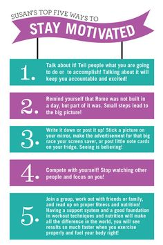 Susan's top five ways to stay #motivated -- #workout #exercise #inspiration