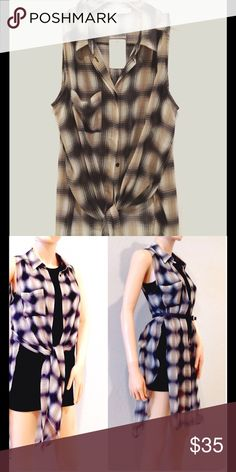 #Sheer Plaid Vest Midi. 100% polyester. Side slits. Versatile. Wear open/closed, knotted or belted. Also cute with skinnies. Lush Jackets & Coats Vests
