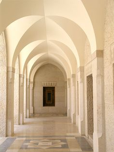 Arches of King Hussein Mosque in Amman, Jordan, designed by Khaled Azzam.
