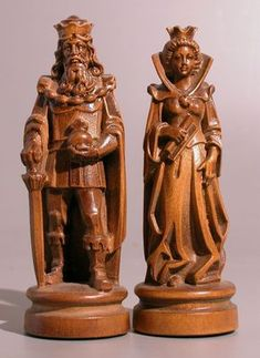 Chess set ca. second half of the 20th century. Made in Deutschland in a medieval style. Made of wood.