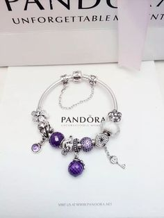 50% OFF!!! $279 Pandora Charm Bracelet Purple White. Hot Sale!!! SKU: CB02066 - PANDORA Bracelet Ideas