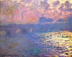 Oscar-Claude Monet (French 1840-1926) [Impressionism] Waterloo Bridge, Sunlight Effect, 1903.