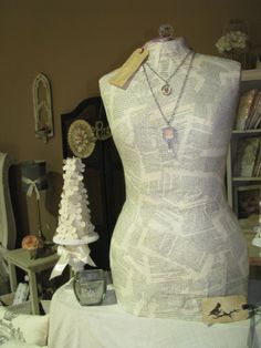 Calico Mannequin torso bust dress form, paper mache, Pin-able ...