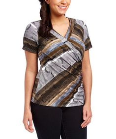 Loving this Beige & Gray Diagonal Surplice Top - Plus Too on #zulily! #zulilyfinds