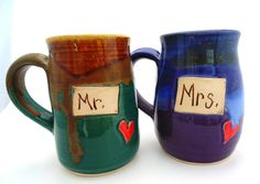 MR. and Mrs. Wedding Ceramic Handmade Pottery by jewelpottery, $56.00