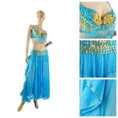 BellyLady Professional Full Dancing Costume, Fringe Sequined Bra & Belt & Skirt Costume Set