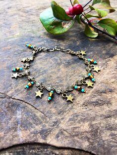 Charm crystal bracelet turquoise star bracelet boho charm