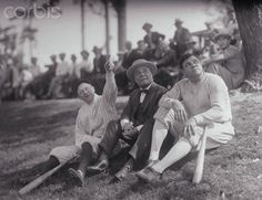 Babe Ruth with Miller Huggins and Jacob Ruppert 1927