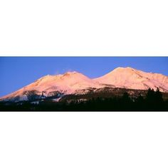 Mount Shasta At Sunset California Canvas Art - Panoramic Images (36 x 12)