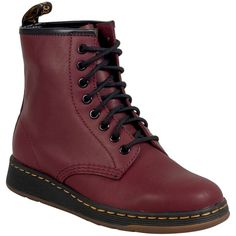 Dr. Martens Unisex Newton Lightweight Boot ($125) ❤ liked on Polyvore featuring shoes, boots, burgundy, burgundy shoes, rubber sole boots, burgundy lace up boots, lightweight combat boots and military lace up boots
