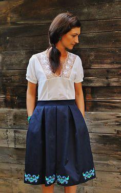 zb / modrá sukňa s výšivkou Dress Skirt, Lace Skirt, Work Fashion, Skirts, Dresses, Style, Products, Formal Skirt, Gowns
