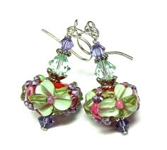 Flower Earrings Lampwork Earrings Pretty Earrings by SeeMyJewelry