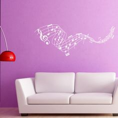 "Style and Apply Music Staff Wall Decal Size: 9"" H x 31"" W, Color: Pink"
