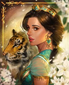 Jasmine and Rajah from the live-action Aladdin. Disney Punk, Art Disney, Disney Live, Disney Fantasy, Disney Films, Disney And Dreamworks, Disney Magic, Disney Princess Jasmine, Disney Princess Drawings