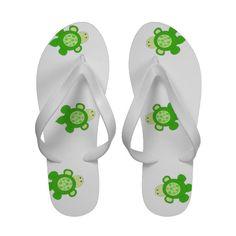 Swimming Green Turtles flip flops...