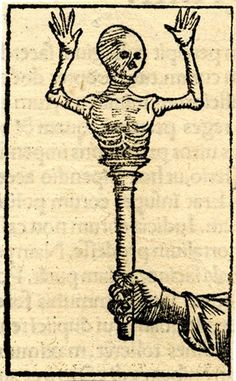 A hand holding a staff surmounted by a half-length miniature skeleton; illustration to an unidentified Latin edition of Sebastian Münster, '...