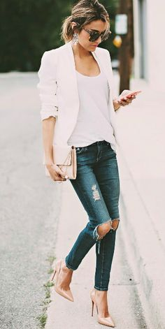 Christine Andrew + ripped denim jeans + white cami + blazer + smart/casual street style + perfect for spring + nude stilettos.  Brands not specified.