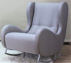 Schaukelsessel Schaukel Sessel Ohrensessel In Stoff Farbe Grau