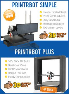 """We've just added PrintrBot's affordable, all metal """"Simple"""" and Plus"""" printers to our store - in stock now!"""
