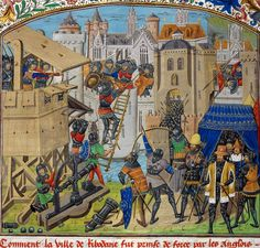 Detail of a miniature of the taking of Ribodane. Origin: Wafrin - The capture of Ribodane in British Library Royal 14 E. IV - Folio France, N.) and Netherlands, S. (Bruges) Attribution: Master of the Vienna and Copenhagen Toison d'Or Medieval World, Medieval Times, Medieval Art, Renaissance Art, Medieval Knight, Medieval Manuscript, Illuminated Manuscript, Eslava, Maleficarum