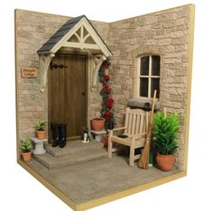 Design Exclusive to Bromley Craft Products.Dolls house cottage garden kit in scale. Design features include a square base with steps, cottage door, porch and window Miniature Rooms, Miniature Houses, Miniature Dollhouse, Diy Garden Projects, Home Projects, Garden Show, Home And Garden, Cottage Door, Witch Cottage