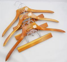 Teak Wood Suit Hangers by Handiform, Vintage Suit Hangers with Pants or Skirt Clamp by ShellyisVintage on Etsy