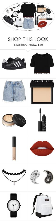 """""""Wonder Woman"""" by sarahcb2002 ❤ liked on Polyvore featuring adidas Originals, Moschino, Topshop, NARS Cosmetics, Lime Crime, Sydney Evan and JanSport"""