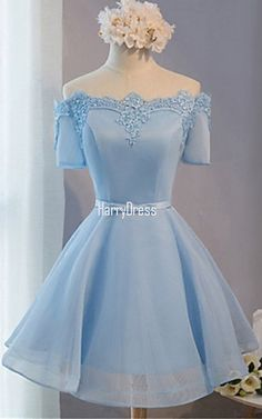 Blue Mini Short Sleeve Organza A Line Off The Shoulder Appliques Lace Sequins Short Homecoming Dress
