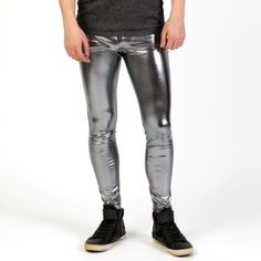 Speerise Men Shiny Lycra Leggings Metallic Spandex Full Length Man Meggings Leggings Tights for Guys Lycra Leggings, Shiny Leggings, Tight Leggings, Mode Des Leggings, Spandex, Tight Leather Pants, Lycra Men, Mens Tights, Hommes Sexy