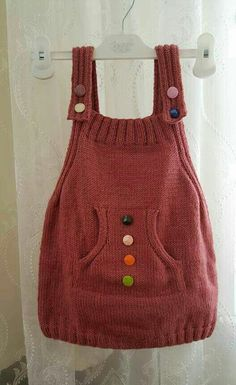 Balloon Skirt Pocket Hanging Gilet Made 3 years - Baby dress kinitting Diy Crafts Knitting, Knitting For Kids, Crochet For Kids, Knit Crochet, Knit Baby Dress, Baby Cardigan, Baby Sweater Knitting Pattern, Baby Knitting Patterns, Balloon Skirt