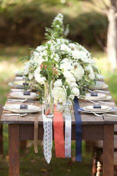 bohemian wedding Ivory, Persimmon and Navy Vintage Bohemian Wedding - Fab You Bliss Berry Wedding, July Wedding, Dream Wedding, Gift Wedding, Wedding Seating, Wedding Table, Rustic Wedding, Wedding Linens, Garden Wedding