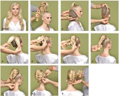 Collection of step-by-steps for any hair length. Ballroom Hair, Elegant Hairstyles, Braided Hairstyles, Rockabilly Hair, Braided Ponytail, Fantasy Hair, Hair Designs, Natural Hair Styles, Long Hair Styles
