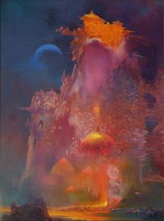 """""""Parapet in Golden Light"""" by Paul Lehr Paul Lehr was, and still remains, one of the greatest sci-fi painters. He dominated science fiction novel covers from the and his work continues to resonate today through the science fiction community and beyond. Sci Fi Fantasy, Fantasy World, Space Fantasy, Sci Fi Kunst, Science Fiction Kunst, 70s Sci Fi Art, Fantasy Illustration, Cover Art, Gabriel"""