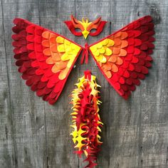 Magical PHOENIX COSTUME: Wings, Tail and Mask // Eco Friendly- Various Sizes