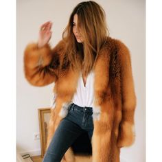 Maya Wyh style inspiration. Fur and denim, white t-shirt.