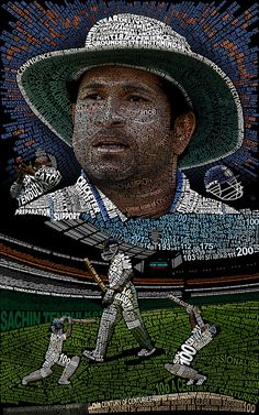 This is a typographic (text, typeface) art of the cricketer Sachin Tendulkar designed on the occasion of his hundredth The artwork is made of individual characters which represent not o. Cricket Tips, Test Cricket, Cricket Sport, Sachin Tendulkar Quotes, Ms Dhoni Photos, Ms Dhoni Wallpapers, India Cricket Team, Cricket Wallpapers, Cricket World Cup